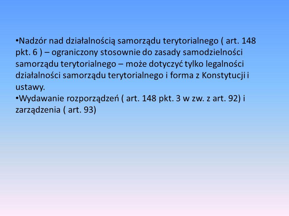 Nadzór nad działalnością samorządu terytorialnego ( art. 148 pkt