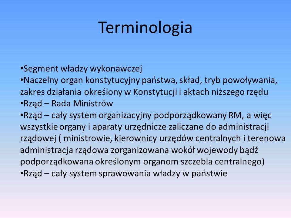 Terminologia Segment władzy wykonawczej