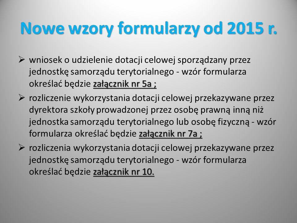 Nowe wzory formularzy od 2015 r.