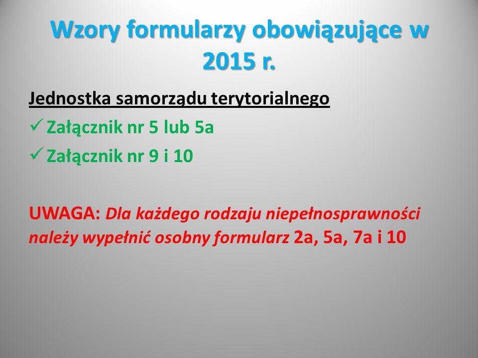 Wzory formularzy obowiązujące w 2015 r.