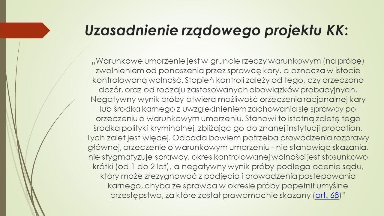 Uzasadnienie rządowego projektu KK:
