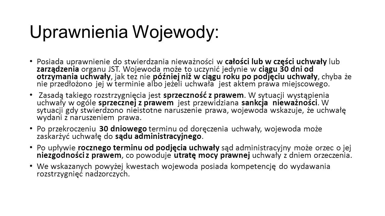 Uprawnienia Wojewody: