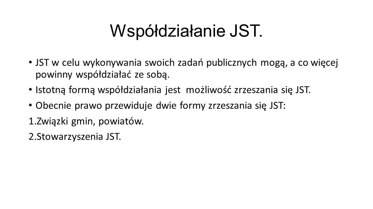 Współdziałanie JST. JST w celu wykonywania swoich zadań publicznych mogą, a co więcej powinny współdziałać ze sobą.