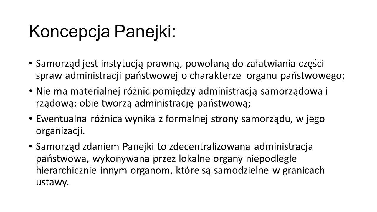 Koncepcja Panejki: Samorząd jest instytucją prawną, powołaną do załatwiania części spraw administracji państwowej o charakterze organu państwowego;