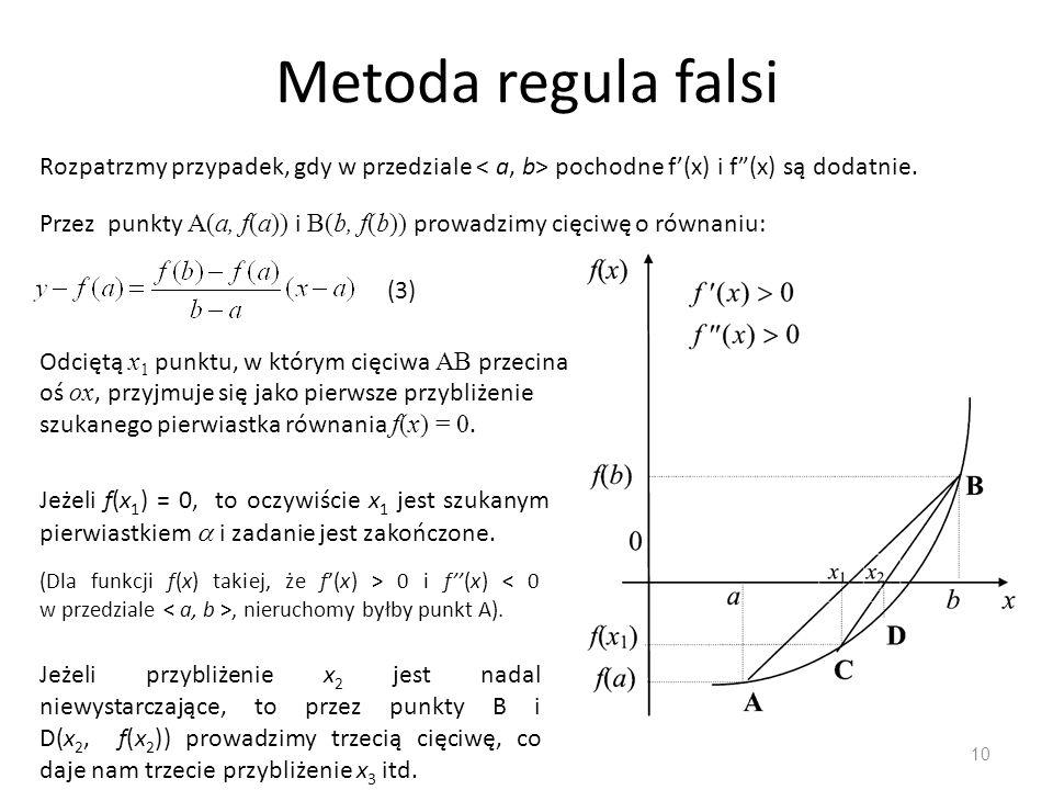 Metoda regula falsi Rozpatrzmy przypadek, gdy w przedziale < a, b> pochodne f'(x) i f (x) są dodatnie.