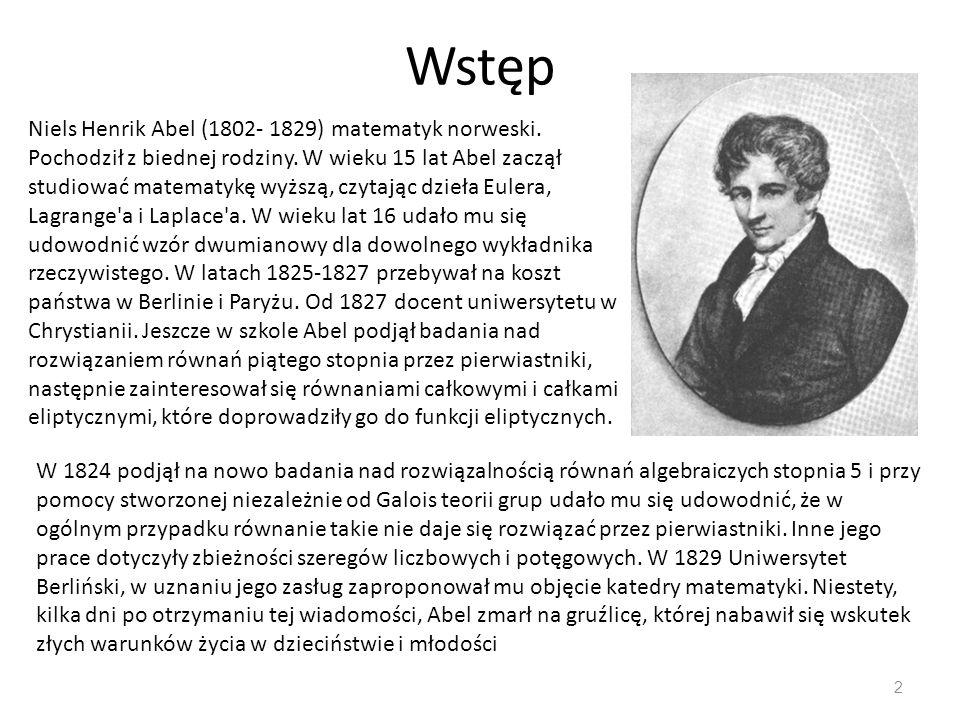 Wstęp Niels Henrik Abel (1802- 1829) matematyk norweski.