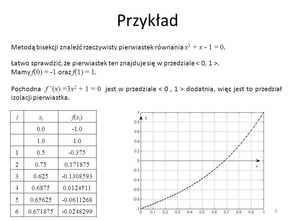 Przykład Metodą bisekcji znaleźć rzeczywisty pierwiastek równania x3 + x ‑ 1 = 0.