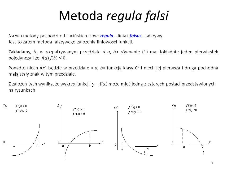 Metoda regula falsi Nazwa metody pochodzi od łacińskich słów: regula - linia i falsus - fałszywy.