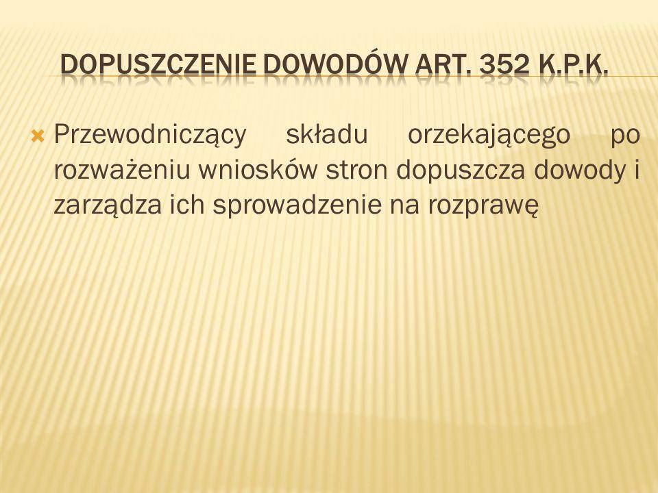 Dopuszczenie dowodów art. 352 k.p.k.
