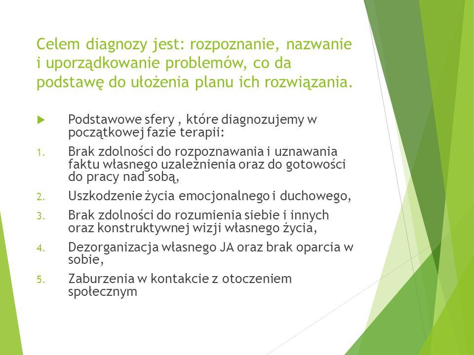 Celem diagnozy jest: rozpoznanie, nazwanie i uporządkowanie problemów, co da podstawę do ułożenia planu ich rozwiązania.