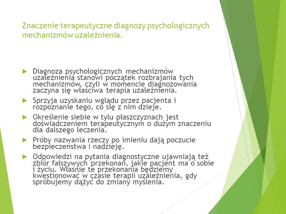 Znaczenie terapeutyczne diagnozy psychologicznych mechanizmów uzależnienia.