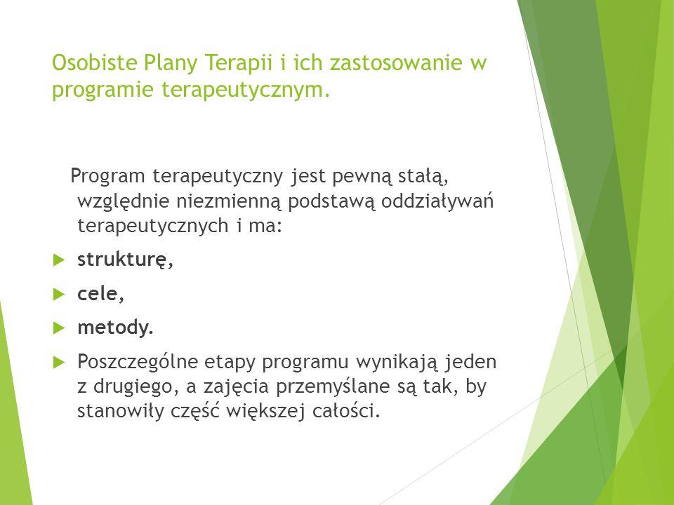 Osobiste Plany Terapii i ich zastosowanie w programie terapeutycznym.