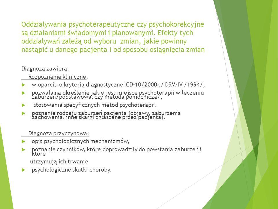 Oddziaływania psychoterapeutyczne czy psychokorekcyjne są działaniami świadomymi i planowanymi. Efekty tych oddziaływań zależą od wyboru zmian, jakie powinny nastąpić u danego pacjenta i od sposobu osiągnięcia zmian