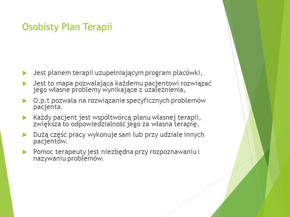Osobisty Plan Terapii Jest planem terapii uzupełniającym program placówki,
