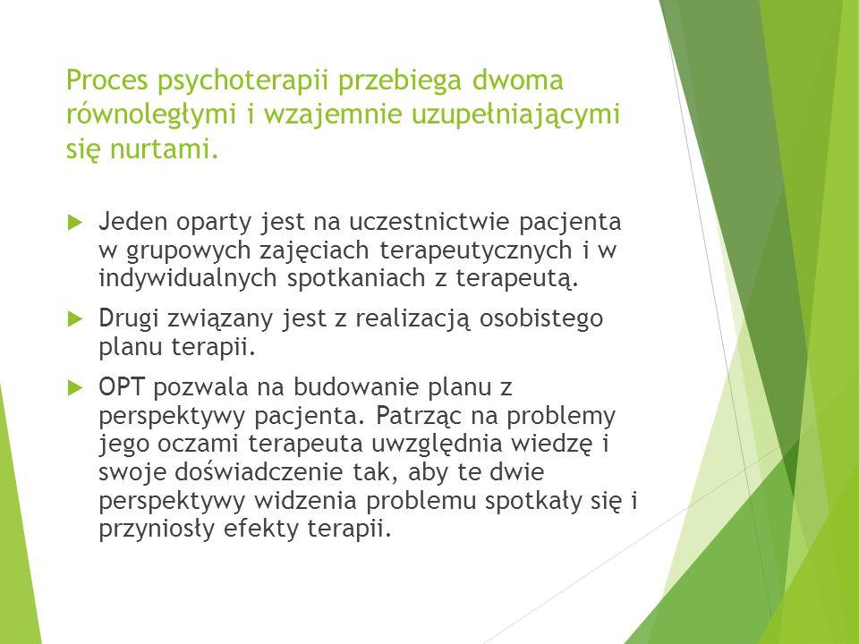 Proces psychoterapii przebiega dwoma równoległymi i wzajemnie uzupełniającymi się nurtami.