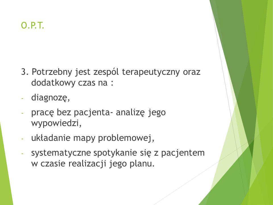 O.P.T. 3. Potrzebny jest zespól terapeutyczny oraz dodatkowy czas na : diagnozę, pracę bez pacjenta- analizę jego wypowiedzi,