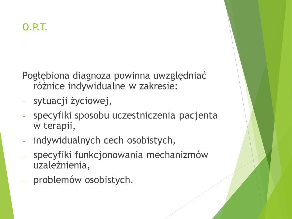 O.P.T. Pogłębiona diagnoza powinna uwzględniać różnice indywidualne w zakresie: sytuacji życiowej,