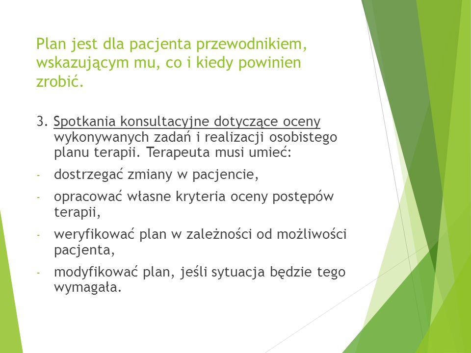 Plan jest dla pacjenta przewodnikiem, wskazującym mu, co i kiedy powinien zrobić.