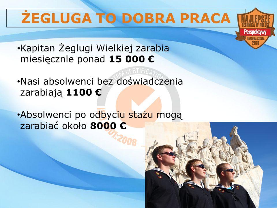 ŻEGLUGA TO DOBRA PRACA Kapitan Żeglugi Wielkiej zarabia miesięcznie ponad 15 000 € Nasi absolwenci bez doświadczenia zarabiają 1100 €