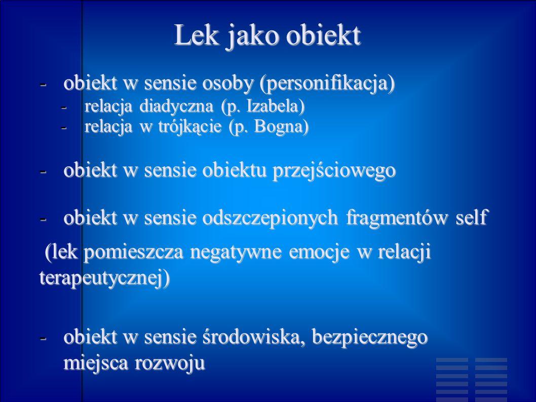 Lek jako obiekt obiekt w sensie osoby (personifikacja)