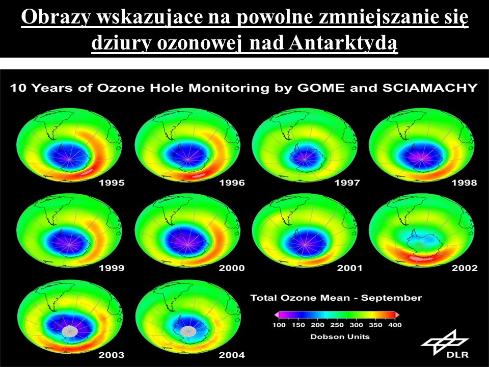 Obrazy wskazujace na powolne zmniejszanie się dziury ozonowej nad Antarktydą