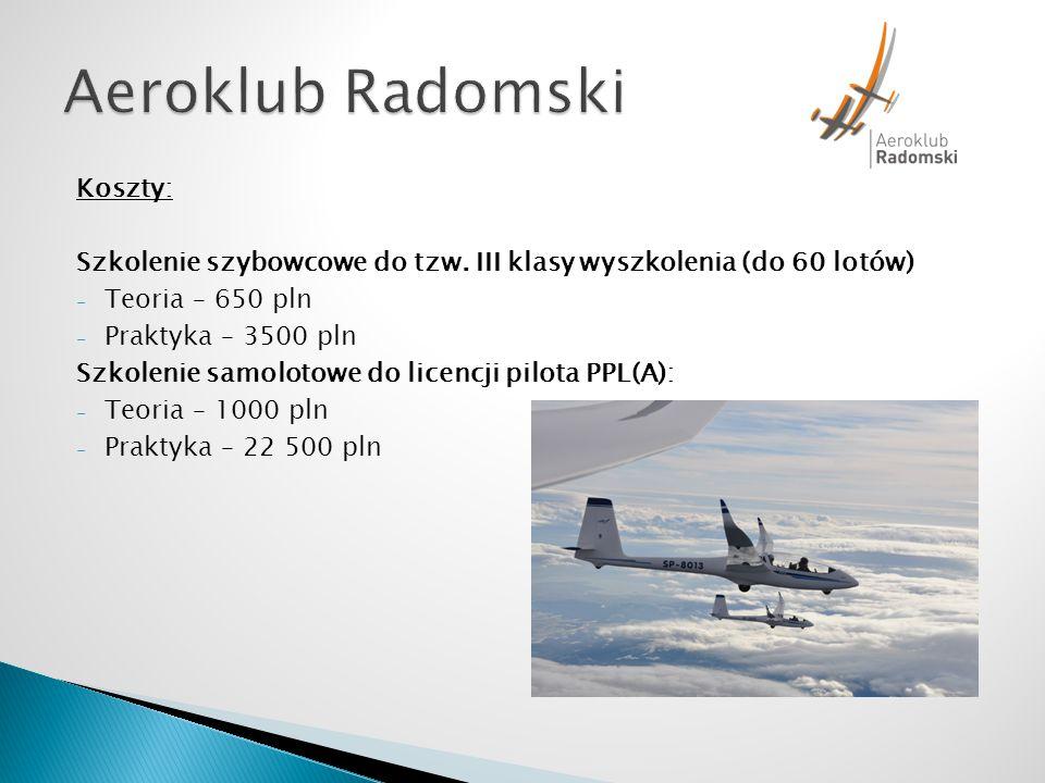 Aeroklub Radomski Koszty: