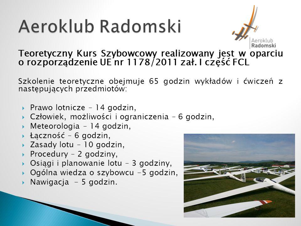 Aeroklub Radomski Teoretyczny Kurs Szybowcowy realizowany jest w oparciu o rozporządzenie UE nr 1178/2011 zał. I część FCL.