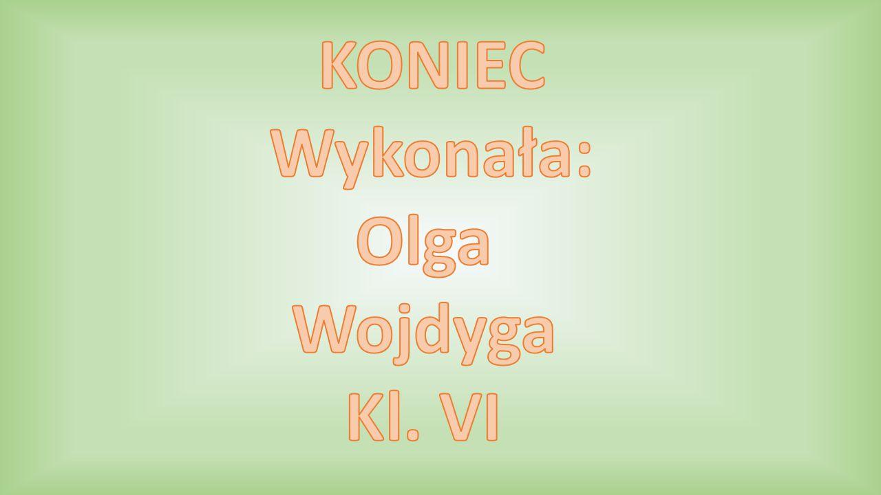 KONIEC Wykonała: Olga Wojdyga Kl. VI