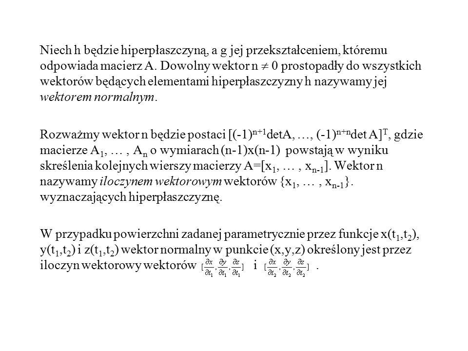 Niech h będzie hiperpłaszczyną, a g jej przekształceniem, któremu odpowiada macierz A.