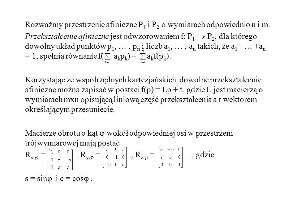 Rozważmy przestrzenie afiniczne P1 i P2 o wymiarach odpowiednio n i m
