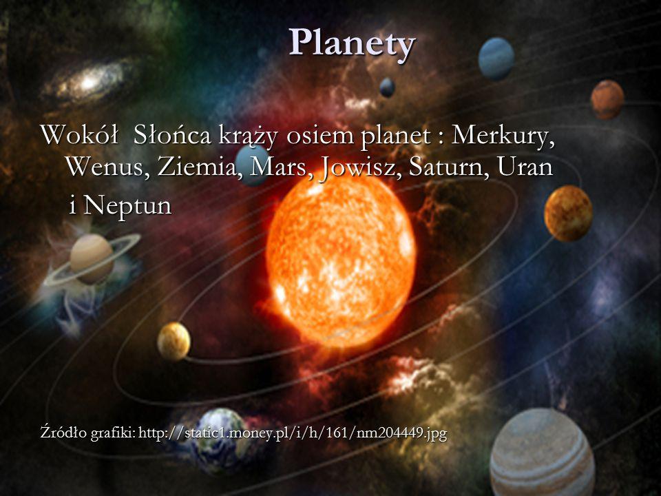 Planety Wokół Słońca krąży osiem planet : Merkury, Wenus, Ziemia, Mars, Jowisz, Saturn, Uran. i Neptun.