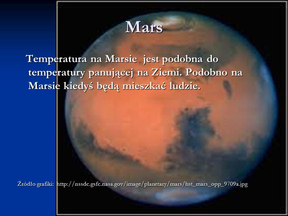 Mars Temperatura na Marsie jest podobna do temperatury panującej na Ziemi. Podobno na Marsie kiedyś będą mieszkać ludzie.