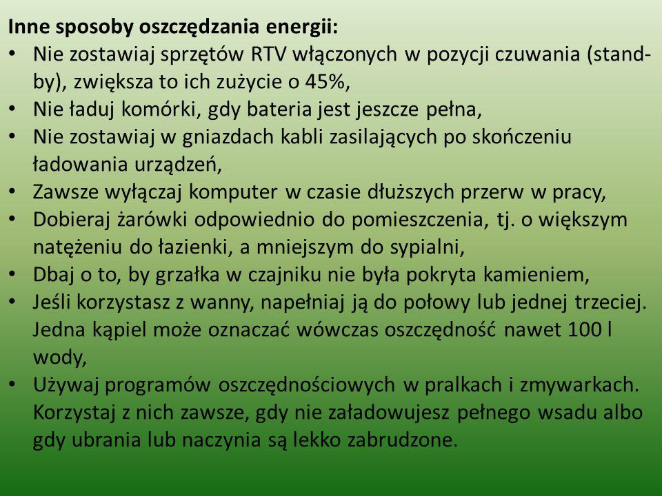 Inne sposoby oszczędzania energii: