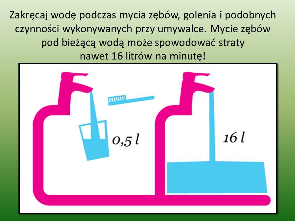 Zakręcaj wodę podczas mycia zębów, golenia i podobnych czynności wykonywanych przy umywalce. Mycie zębów pod bieżącą wodą może spowodować straty