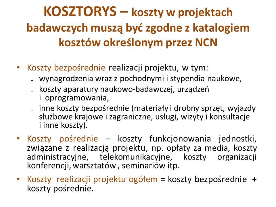 KOSZTORYS – koszty w projektach badawczych muszą być zgodne z katalogiem kosztów określonym przez NCN