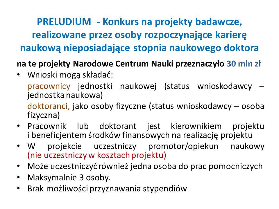 PRELUDIUM - Konkurs na projekty badawcze, realizowane przez osoby rozpoczynające karierę naukową nieposiadające stopnia naukowego doktora