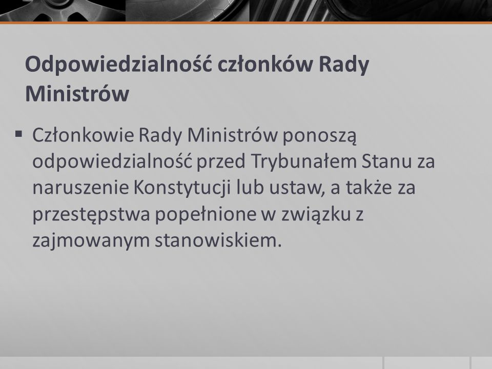 Odpowiedzialność członków Rady Ministrów