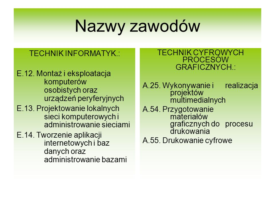 TECHNIK CYFROWYCH PROCESÓW GRAFICZNYCH.: