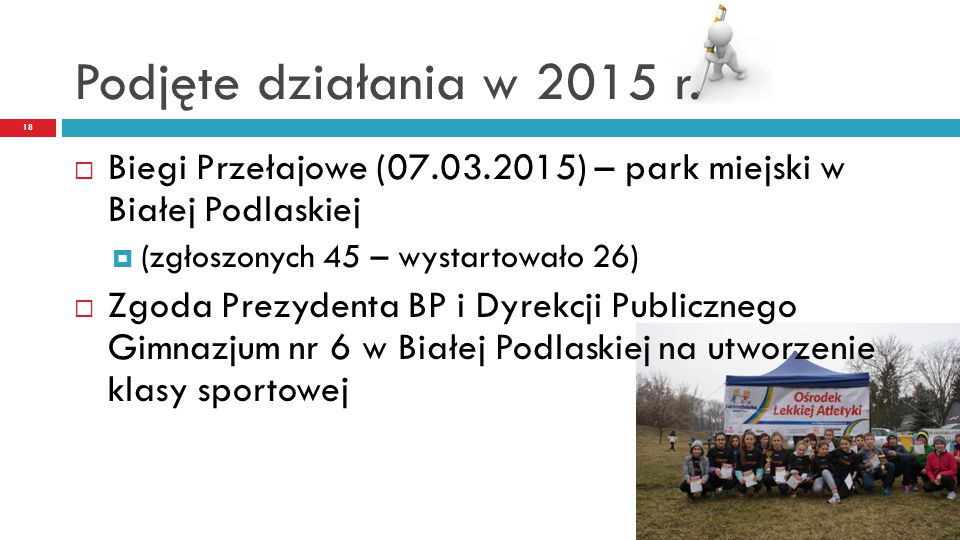 Podjęte działania w 2015 r. Biegi Przełajowe (07.03.2015) – park miejski w Białej Podlaskiej. (zgłoszonych 45 – wystartowało 26)