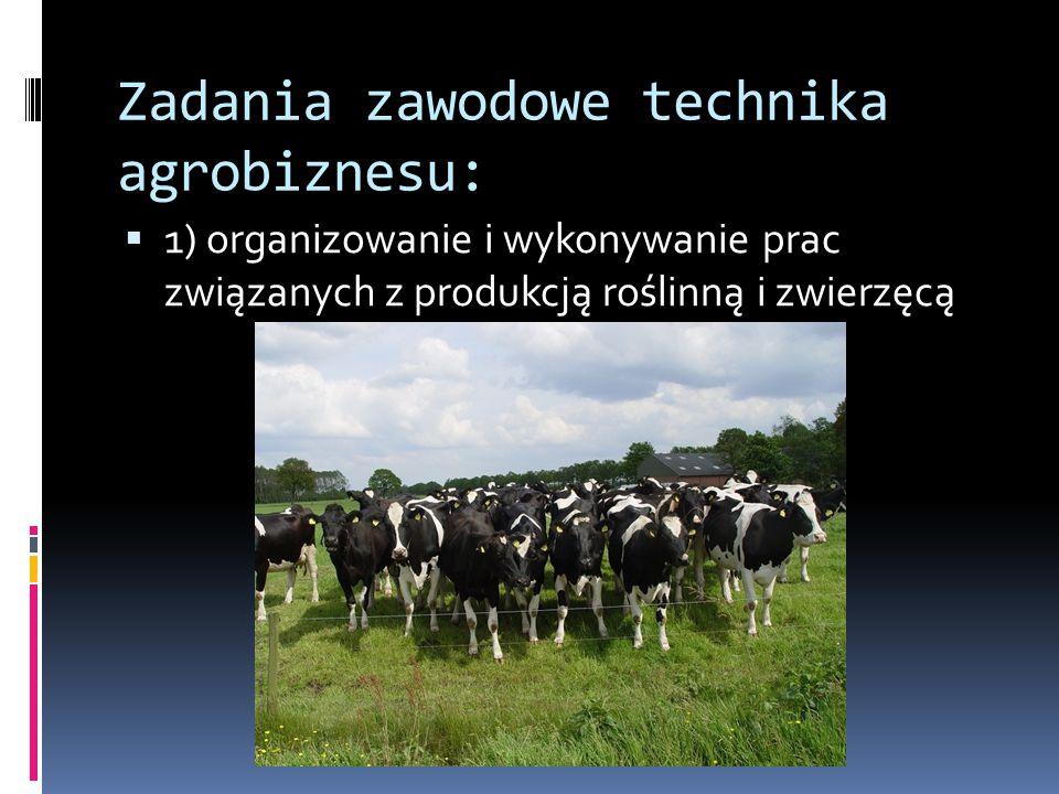 Zadania zawodowe technika agrobiznesu: