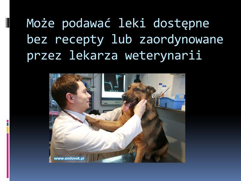 Może podawać leki dostępne bez recepty lub zaordynowane przez lekarza weterynarii