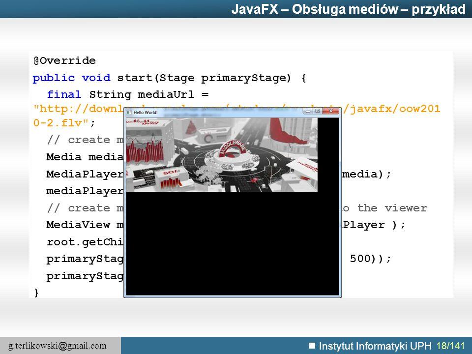 JavaFX – Obsługa mediów – przykład