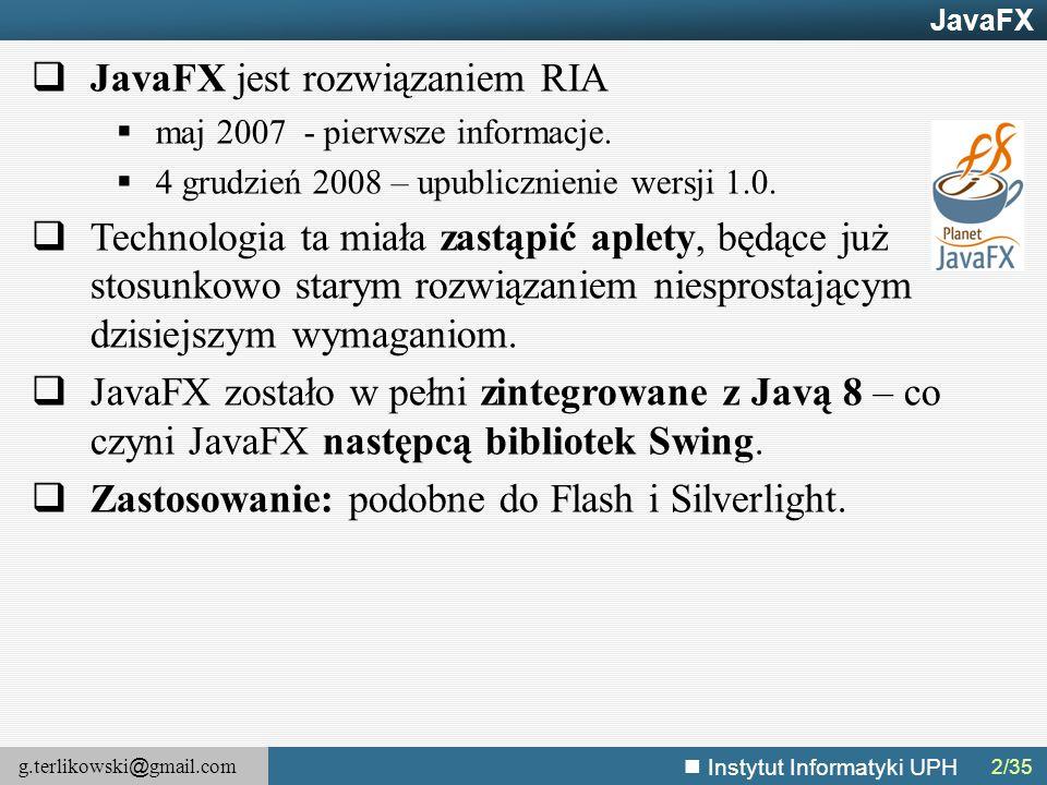 JavaFX jest rozwiązaniem RIA