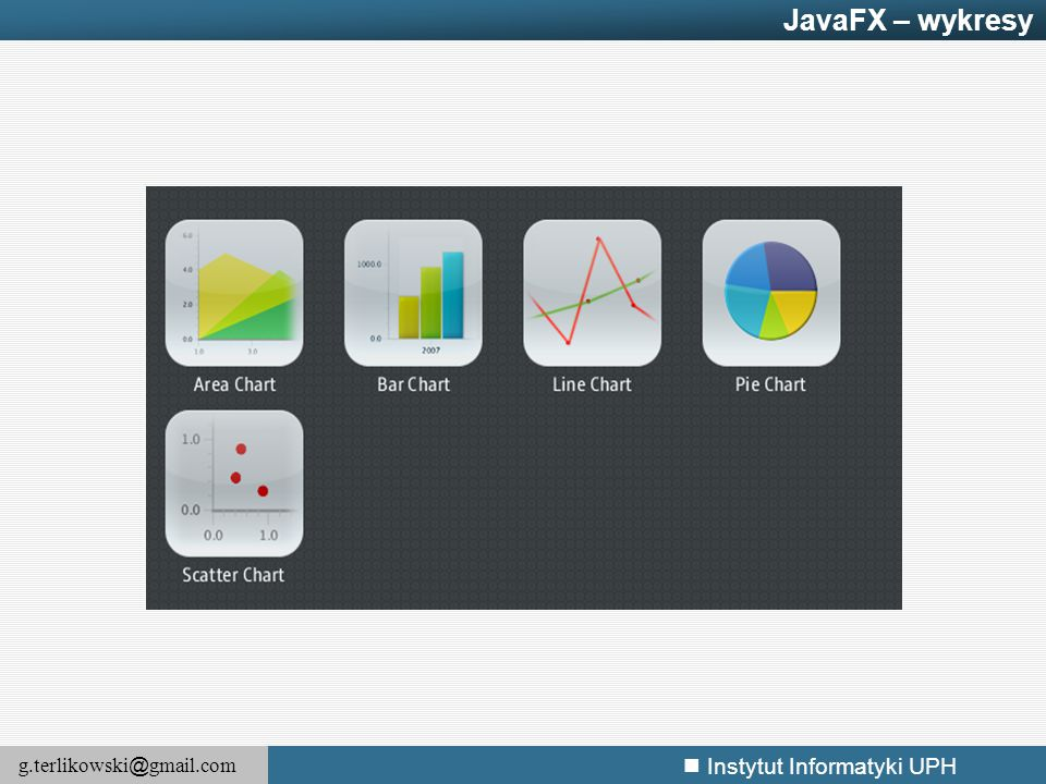 JavaFX – wykresy JavaFX provides a rich set of charting controls that simplifies the display of complex data as a single picture.