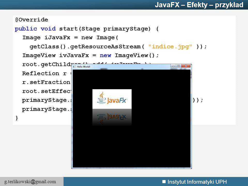 JavaFX – Efekty – przykład
