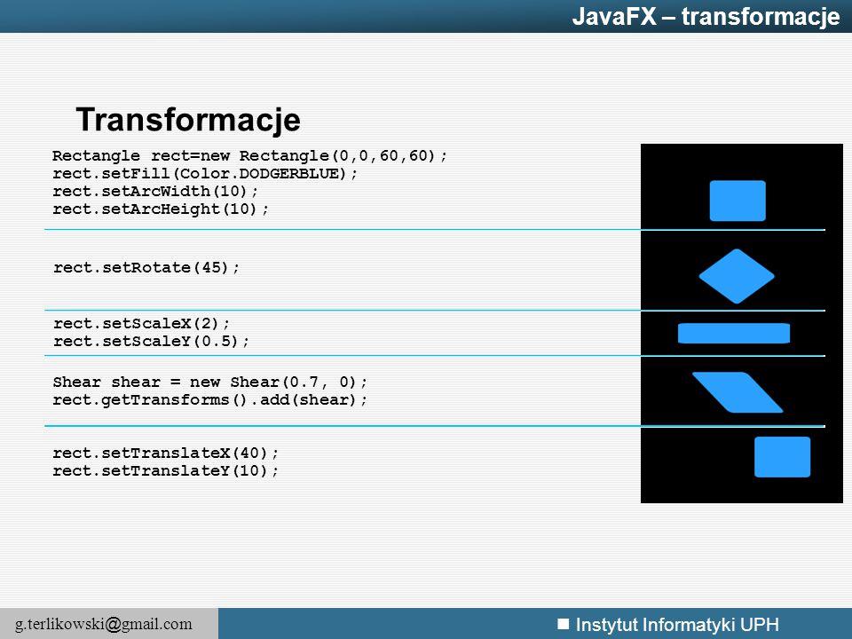 Transformacje JavaFX – transformacje
