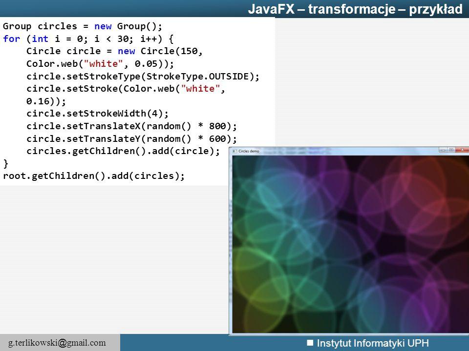 JavaFX – transformacje – przykład