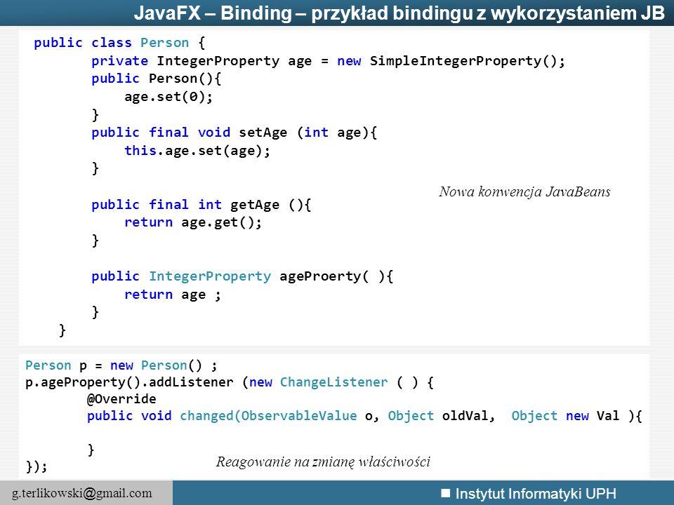 JavaFX – Binding – przykład bindingu z wykorzystaniem JB