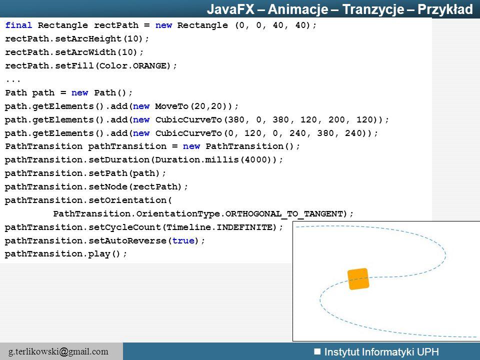 JavaFX – Animacje – Tranzycje – Przykład
