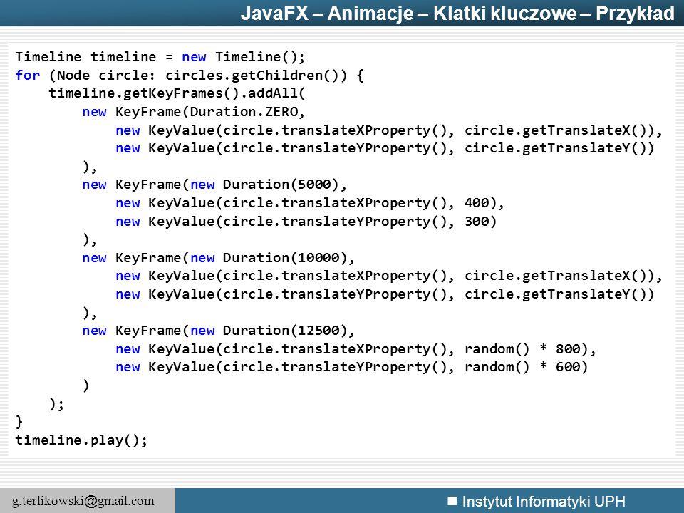 JavaFX – Animacje – Klatki kluczowe – Przykład